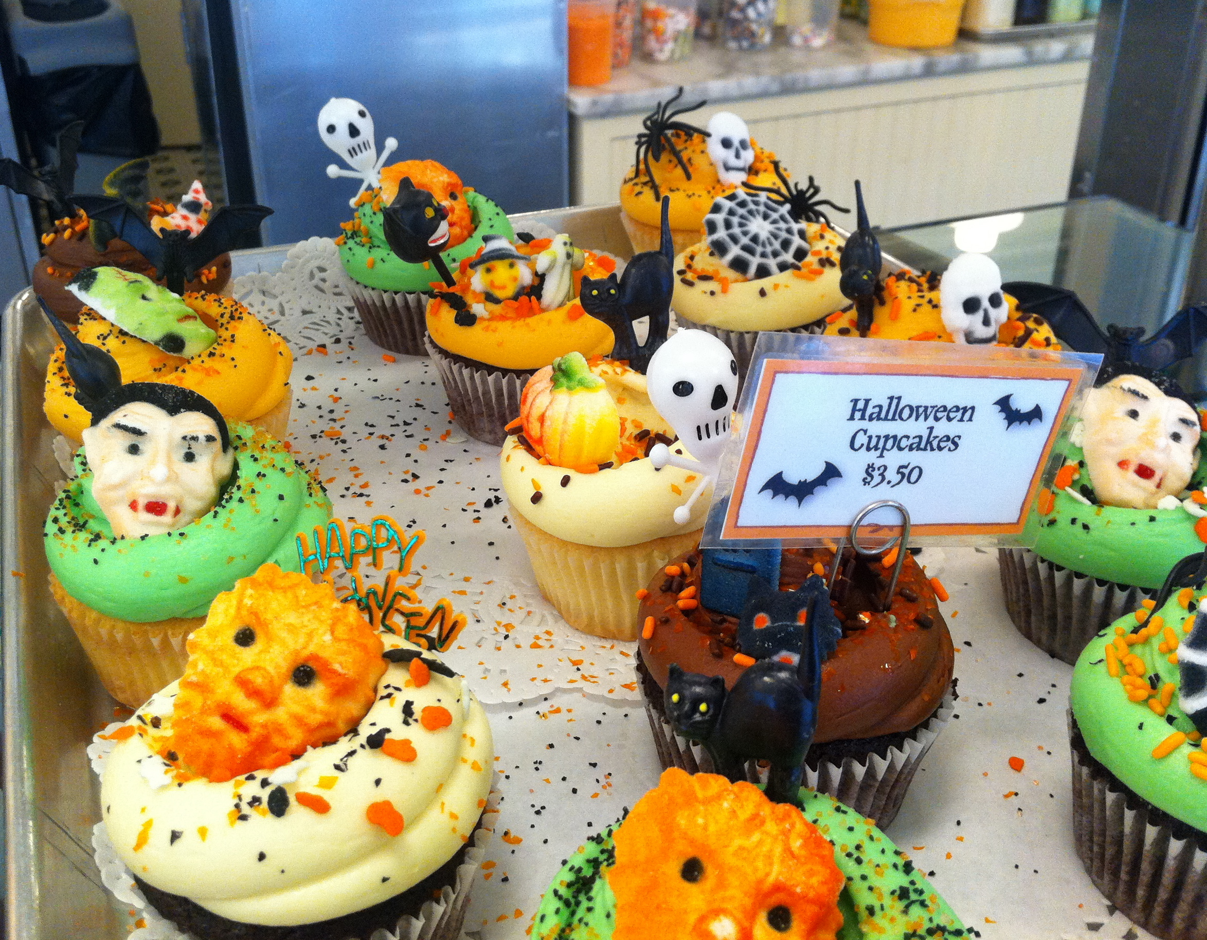 Halloween Cupcakes and Decorations at Magnolia Bakery